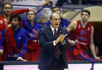 CSKA Moscow's head coach Messina reacts during their Euroleague basketball game against Partizan Belgrade in Belgrade