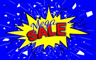 Pop art speech bubble, dynamic crash. Best price, sale concept in comic style, cartoon. Colorful vector illustration. Web banner