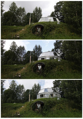 Compination picture shows the vertical progression of a unique house built by 73-year-old Bohumil Lhota in Velke Hamry