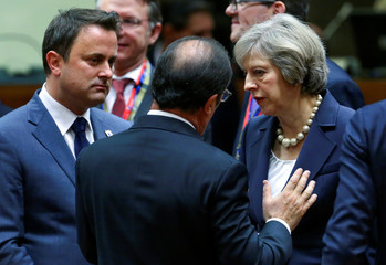 Luxembourg's PM Bettel, French President Francois Hollande and British PM May attend a European Union leaders summit in Brussels