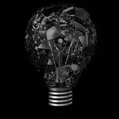 Light bulib isolated on black background, explosion bulb, 3d rendering