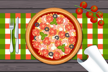 Delicious pizza on wood table with shrimp, tomato and mozzarella