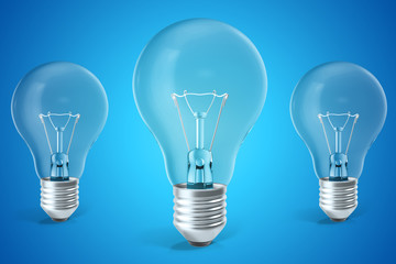 Three ligh bulb concept of ideas, innovation. 3d rendering