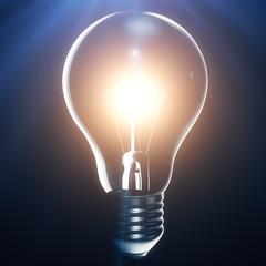 Light bulb on blue background, idea concept, innovation concept, 3d rendering