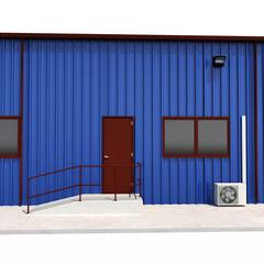 Blue warehouse building door on white. 3D illustration