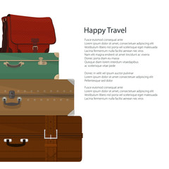 Poster Retro Colored Suitcases and Bag , Luggage Bags for Traveling and Text, Travel and Tourism Concept , Flyer Brochure Design, Vector Illustration