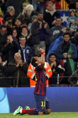 Barcelona's Neymar celebrates a goal against Rayo Vallecano during their Spanish first division soccer match in Barcelona
