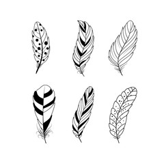 Set of feathers. Boho tribal style.