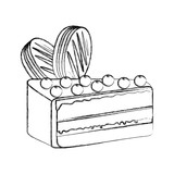 a0188c42eb40 yummy sweet cake slide piece vector illustration graphic design ...