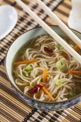 Asian soup with noodles in a decorated bowl