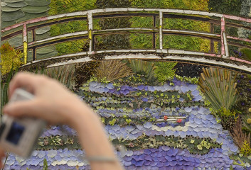 A visitor photographs a floral display inspired by Monet's Impressionist painting at Giverney, at the Chelsea Flower Show in London