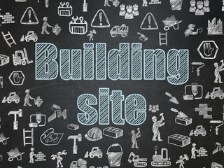 Building construction concept: Building Site on School board background