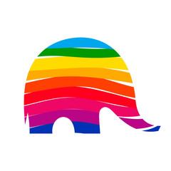 Rainbow elephant consisted of colorful ribbons