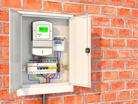 Electric meter with circuit breakers in a metal box. 3D illustration
