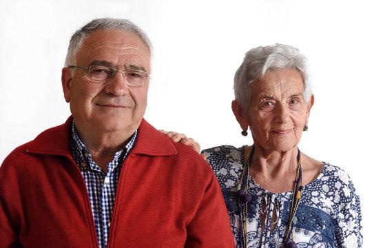 Portrait of a couple senior on white