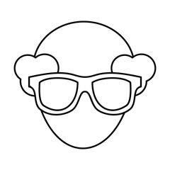 man with glasses  icon over white background. vector illustration