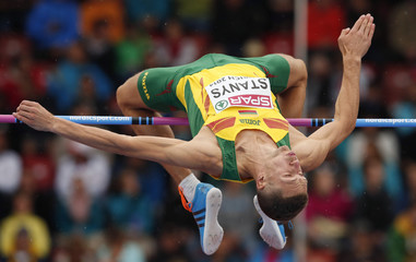 Stanys of Lithuania competes in men's high jump during European Athletics Championships in Zurich