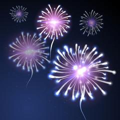 Fireworks background on blue.