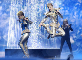 """Jedward of Ireland perform their song """"Waterline"""" during the Grand Final of the Eurovision song contest in Baku"""