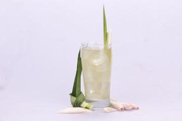 Pandan juice with lemongrass  white backdrop