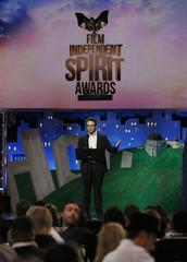 Comic actor Seth Rogen speaks during the 2012 Film Independent Spirit Awards in Santa Monica