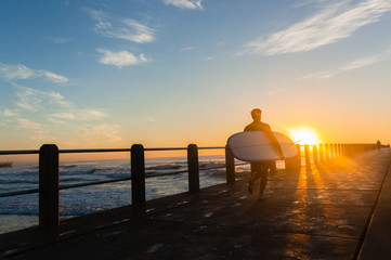 Surfing Surfer Silhouetted Walking Pier Sunrise Ocean