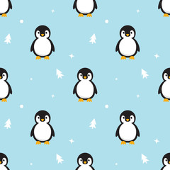 Seamless pattern Baby Penguin standing on sky blue background. Cute Penguin cartoon with snow and pine tree flat design vector illustration.