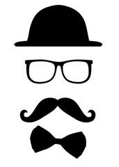 Brille, Bart und Hut