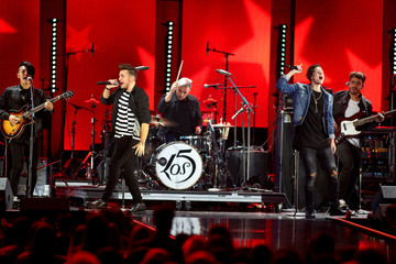 The band Los 5 performs during the iHeartRadio Music Festival at The T-Mobile Arena in Las Vegas