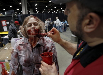 "Seawell is made up to look like a zombie by Spat in the new immersive experience called ""The Walking Dead Experience-Chapter One"" at The Walker Stalker Convention in Atlanta"