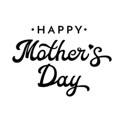 Happy Mothers Day brush lettering. Black letters isolated on white background. Decoration for greeting cards design. Font vector illustration.