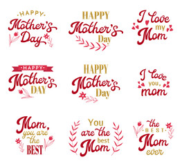 Mothers Day Hand Lettering Calligraphic Inscriptions Set with Hand-drawn Elements. Gold and Red Emblems and Badges Collection Isolated on White. Font Vector Illustration.