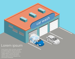 Isometric flat 3D isolated Car service building or car repair