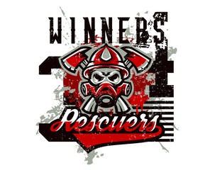 Vector illustration on the theme of rescuers, fire department, a skull in a fireman's helmet, axes. Grunge effect, text, inscription. Typography, T-shirt graphics, print, banner, poster, flyer