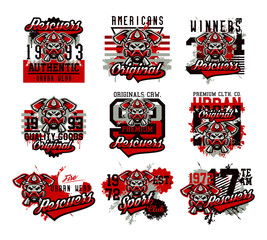 A set of vector illustrations on the theme of rescuers, fire department, a skull in a fireman's helmet, axes. Grunge effect, text, inscription. Typography, T-shirt graphics, print, banner, poster