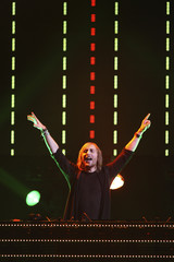 David Guetta performs during the second day of the iHeartRadio Music Festival at the MGM Grand Garden Arena in Las Vegas