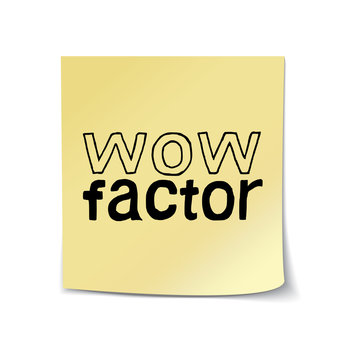 Wow Factor - Hand Drawn Lettering Sticky Note Template. Vector Illustration Quote. Handwritten Inscription Phrase for Office, Presentation, T-shirt Print, Poster, Cover, Case Design.
