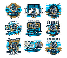 Collection of vector illustration on the theme of mountain bike cyclist performs a trick on the bike. Grunge effect, text, inscription. Typography, T-shirt graphics, print, banner, poster, flyer