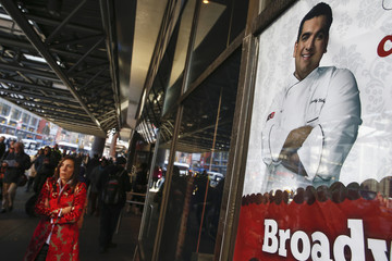 A photo of celebrity chef Buddy Valastro is seen outside his 'Cake Boss' cafe in New York