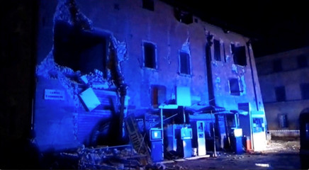 Still image from video shows damaged building after an earthquake in Visso