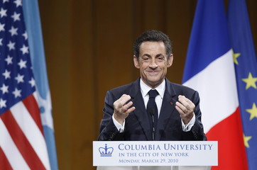 France's President Sarkozy addresses the audience during a World Leaders Forum at Columbia University in New York