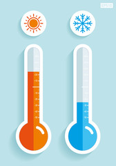 Thermometers in flat style, cold and hot temperature, design element on color background. Vector design object