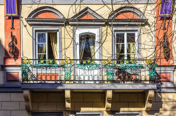 The balcony on the facade of a house built in the art Nouveau style . The beginning of the twentieth century . The Old Town District . Prague , Czech Republic.
