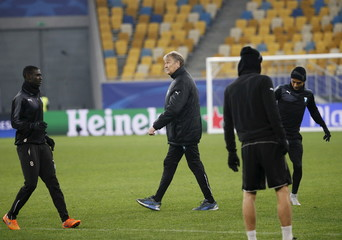 Malmo's coach Age Hareide attends a training session at the Arena Lviv stadium in Lviv