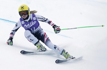 Austria's Fenninger skis during a training session ahead of the Women's World Cup Downhill skiing race in Val d'Isere