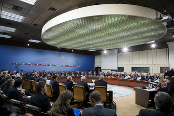 Foreign ministers attend a NATO Foreign Ministers meeting at the Alliance's headquarters in Brussels