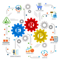 Enterprise resource planning (ERP) module gear Construction flow icon art abstract vector design
