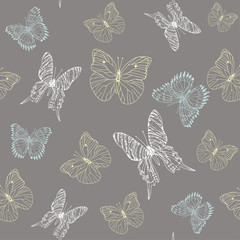 Background pattern of butterflies pastel colors on grey background hand drawn ink image. Perfect for fabrics, tissue and paper design.