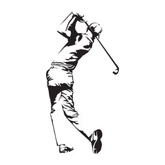 Golf player, abstract vector silhouette, golfer sketch