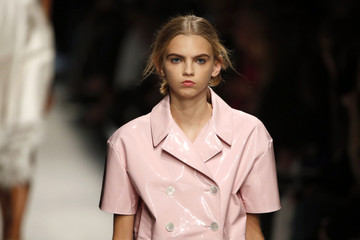 Model Molly Bair presents a creation by Italian designer Alessandro Dell'Acqua as part of his Spring/Summer 2016 women's ready-to-wear collection for fashion house Rochas during Fashion Week in Paris